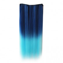 Ombre Colorful Clip in Hair Straight 01# Deep Blue/Light Blue 1 Piece