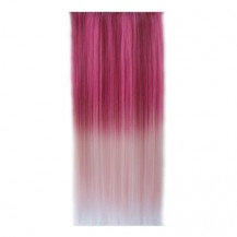 Ombre Colorful Clip in Hair Straight 07# Rosy/Pink White 1 Piece
