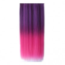 Ombre Colorful Clip in Hair Straight 10# Purple/Rosy 1 Piece