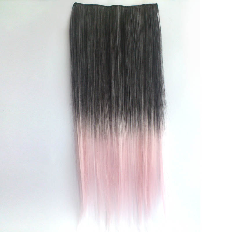 Ombre Colorful Clip In Hair Straight 13 Black Pink White