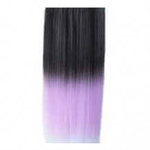 Ombre Colorful Clip in Hair Straight 17# Black/Lavender 1 Piece