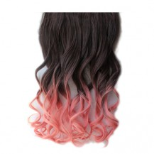 Ombre Colorful Clip in Hair Wavy 11# Black/Pink 1 Piece