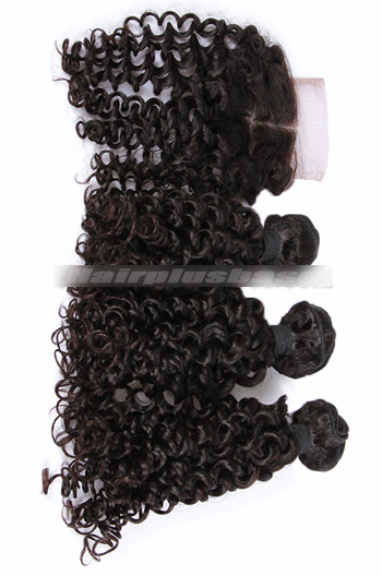 10-30 Inch Candy Curl Peruvian Virgin Hair A Lace Closure With 3 Bundles Deal