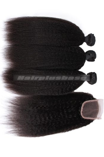 8-30 Inch Kinky Straight Peruvian Virgin Hair A Lace Closure With 3 Bundles Deal