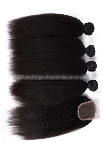 8-30 Inch Kinky Straight Peruvian Virgin Hair A Lace Closure With 4 Bundles Deal
