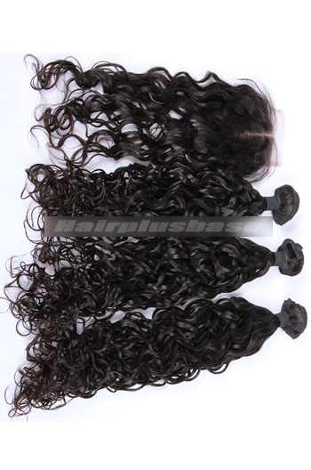 10-30 Inch Loose Curl Peruvian Virgin Hair A Lace Closure With 3 Bundles Deal