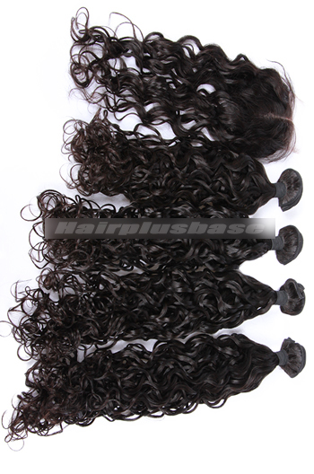 10-30 Inch Loose Curl Peruvian Virgin Hair A Lace Closure With 4 Bundles Deal