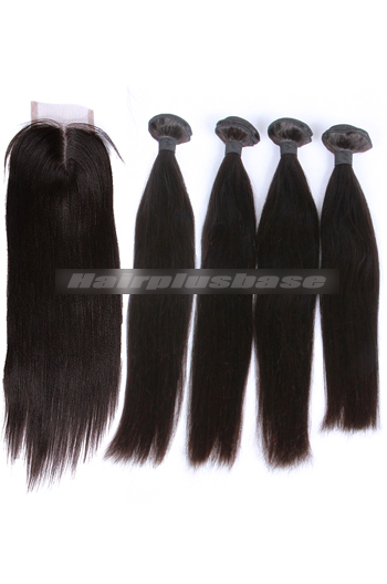 10-30 Inch Silky Straight Peruvian Virgin Hair A Lace Closure With 4 Bundles Deal