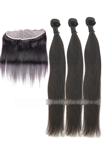Peruvian Virgin Hair Silky Straight A Lace Frontal With 3 Bundles Deal