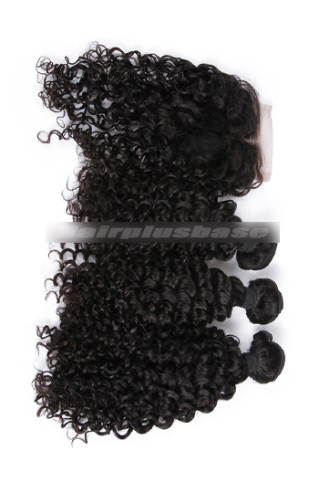10-30 Inch Water Wave Peruvian Virgin Hair A Lace Closure With 3 Bundles Deal