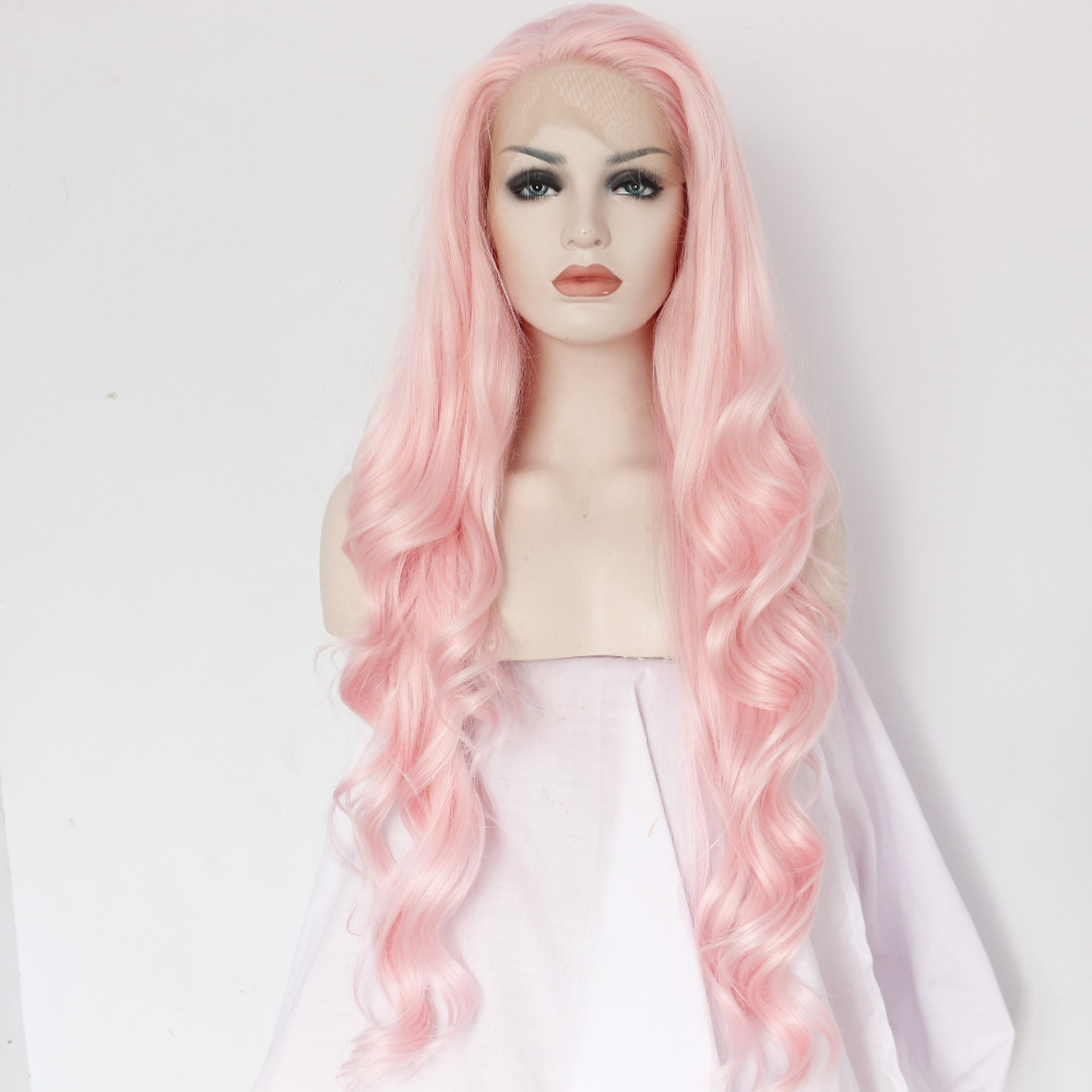 Pink Body Wave Long Lace Front Wig