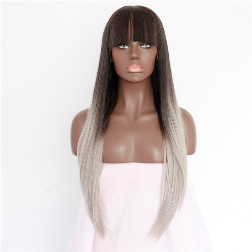Sexy Black to Gray Ombre Lace Front Wig with Blunt Bangs for Women