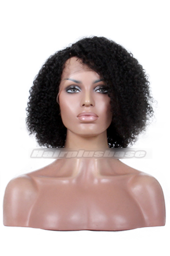 Jheri Curl Natural Looking Indian Remy Hair Side Part Glueless Lace Part Lace Wigs