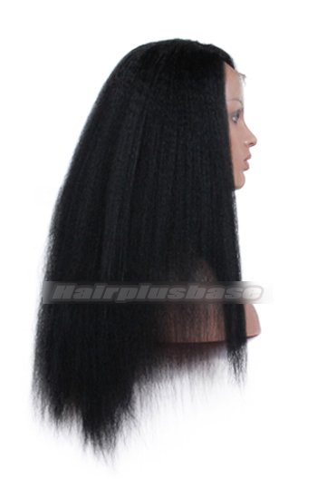 Indian Remy Hair Side Part Kinky Straight Natural Looking Glueless Lace Part Lace Wigs