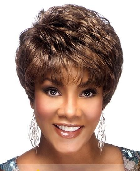 Simple Short Brown Full Lace Remy Hair Wigs for Black Women ...