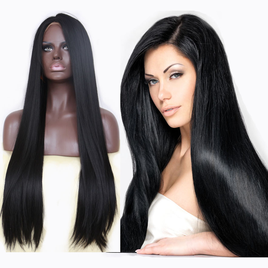 Sleek Black Middle Parting Lace Front Wig for African American Women