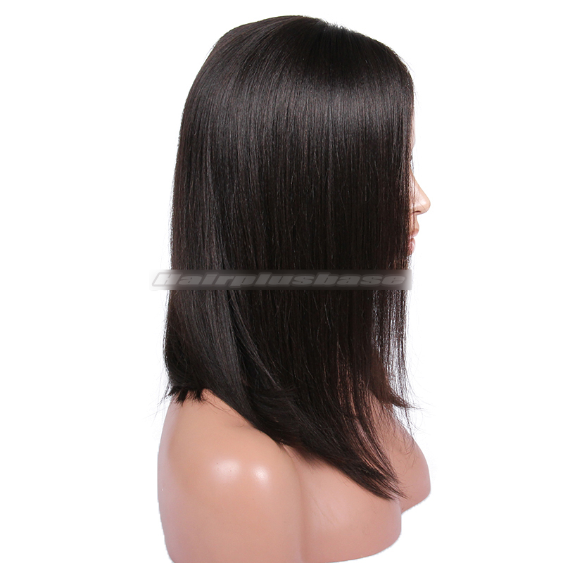 Trendy Long Bob Hairstyle Black Color Human Hair Lace Wigs