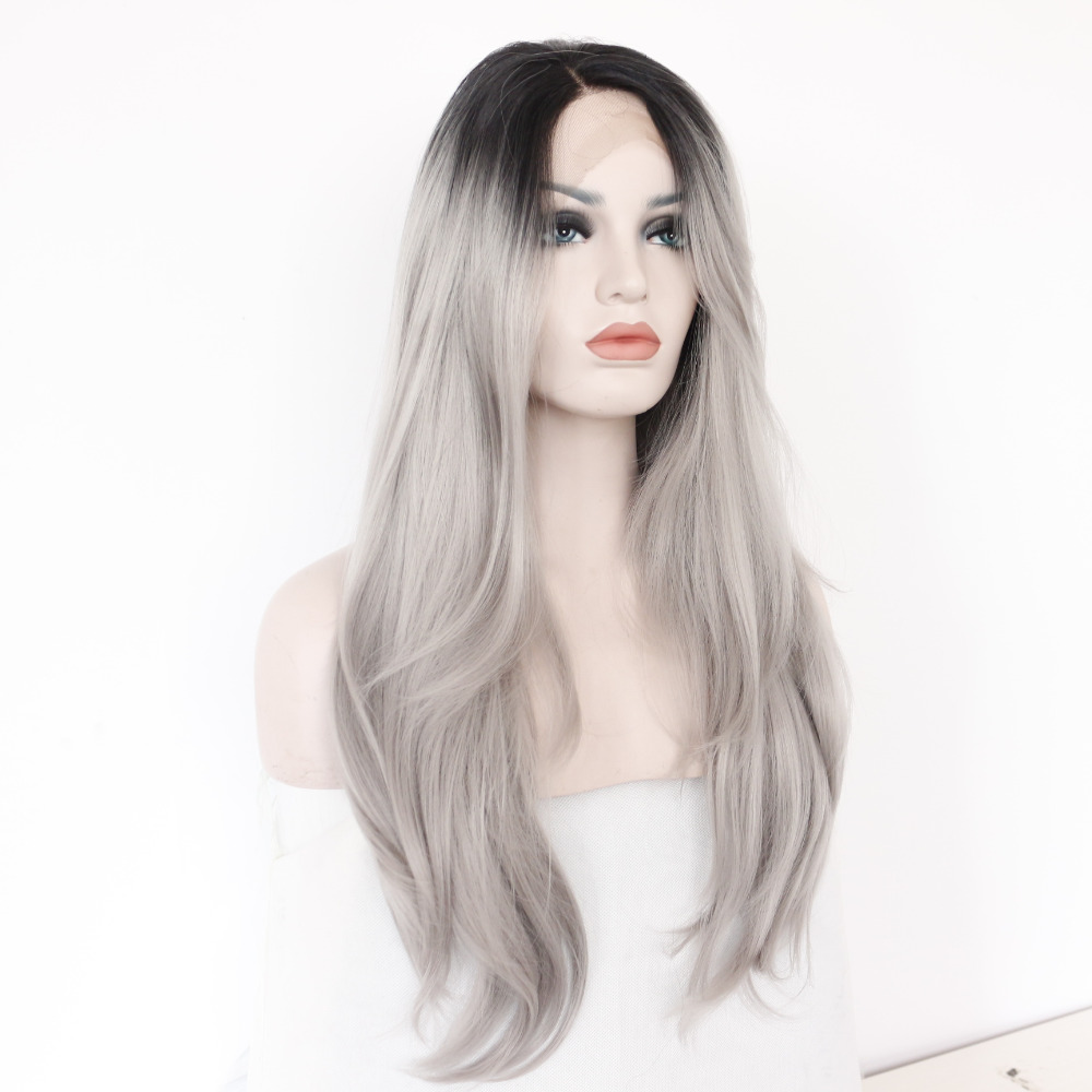 Two Tones Ombre Lace Front Wig with Black to Gray Gradient Heat Resistant Hair 1