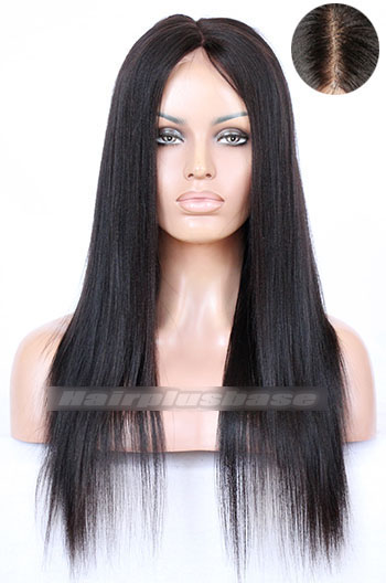 18 Inch Yaki Straight Indian Remy Hair Middle Part Lace Front Wigs