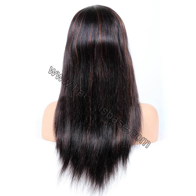 #1B/30 Highlight Color Full Lace Wigs Indian Virgin Hair Light Yaki 1