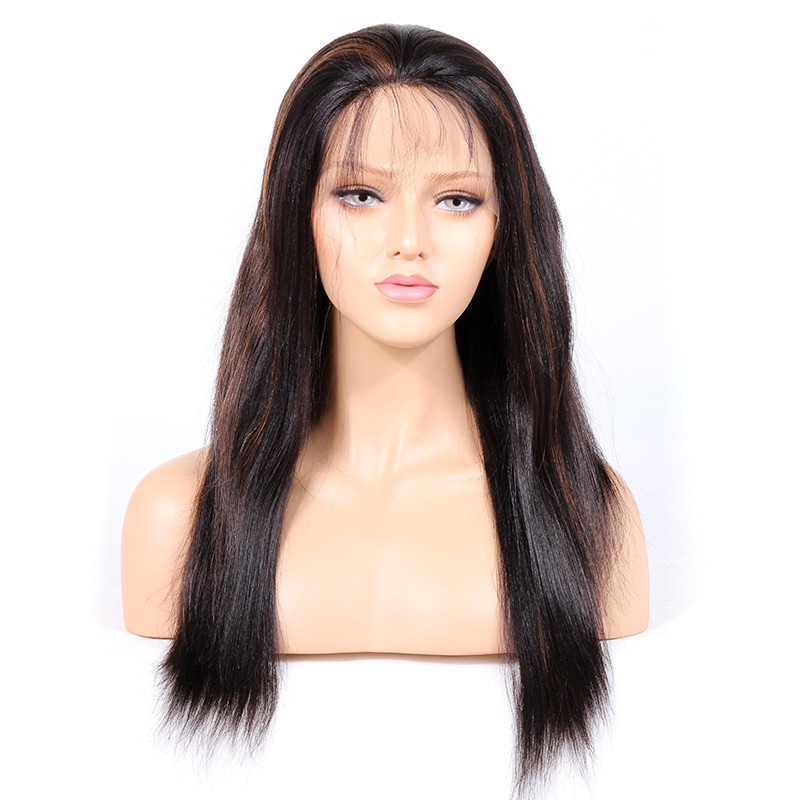 #1B/#30 Highlight Color Lace Front Wigs Indian Remy Human Hair Yaki Straight