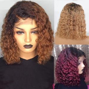 #27 #1B/27 #30 #1B/30 #99J #1B/99J Pure And Ombre Color Loose Curl Bob Wigs 8-14 Inches 150% 180% Density