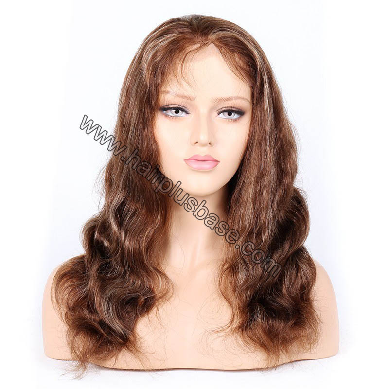 #4/27 Highlight Color Full Lace Wigs Indian Virgin Hair Body Wave