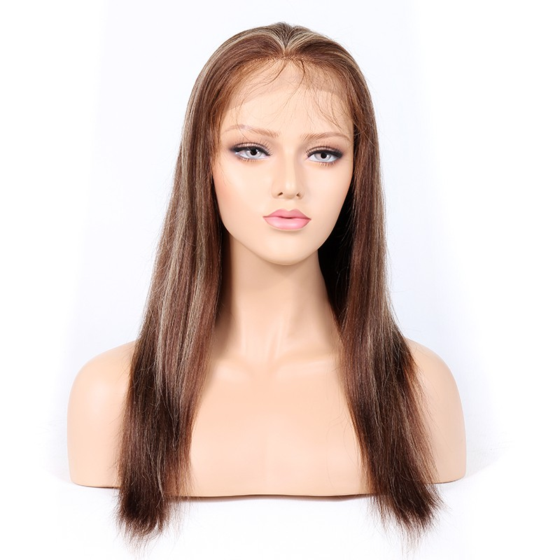 #4/#27 Highlight Color Lace Front Wigs Indian Remy Human Hair Yaki Straight