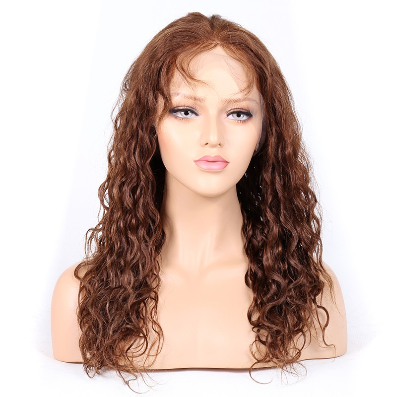 #4/#30 Highlight Color Lace Front Wigs Indian Remy Hair 25mm Curl
