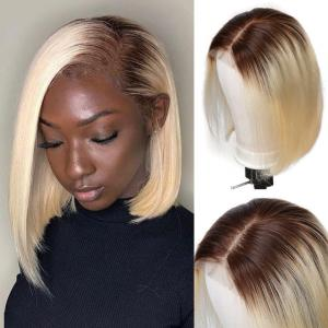 #4/613 Blonde Hair Straight Bob Lace Front Wigs 8-14Inch 150% 180% Density