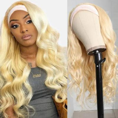 #613 Blonde Color Headband Wig Natural Wave Glue-less Human Hair Wigs