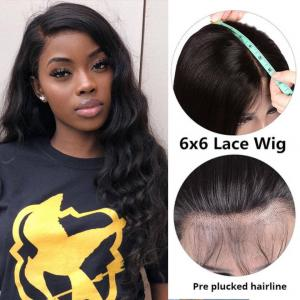 Body Wave 6*6 Lace Closure Wigs 180% 250% Density With Baby Hair