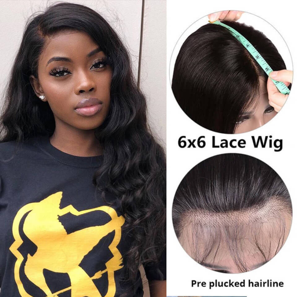 Body Wave 6*6 Lace Closure Wigs 180% 250% Density With Baby Hair 9