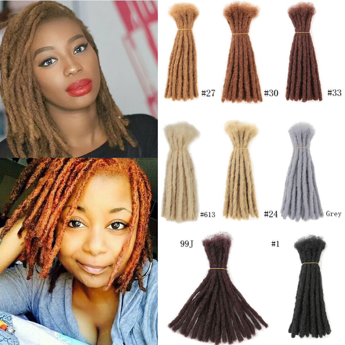 10 Inch 20 Dreads Short Crochet Dreadlocks Synthetic Blunt Ends Braided Locs Hair Extensions 12