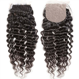 "10""-20"" Brazilian Virgin Hair Deep Wave Silk Based Closure(4""*4"") Free Style Natural Color"