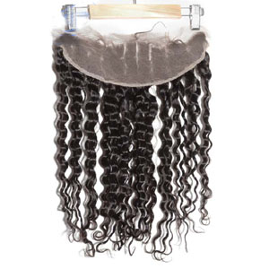 "10""-20"" Brazilian Virgin Hair Lace Front Closure Bleached Knots 13""*4"" Deep Wave"
