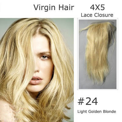 "10""-20"" Brazilian Virgin Hair Straight Lace Closure(4""*5"") Free Style #24 Ash Blonde"