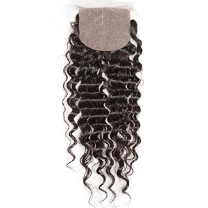 "10""-20"" Middle Part Brazilian Virgin Hair Deep Wave Silk Based Top Lace Closure(4""*4"") Natural Color"
