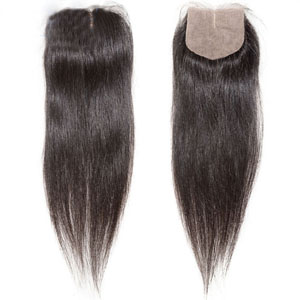 "10""-20"" Middle Part Brazilian Virgin Hair Straight Silk Based Top Lace Closure(4""*4"") Natural Color"