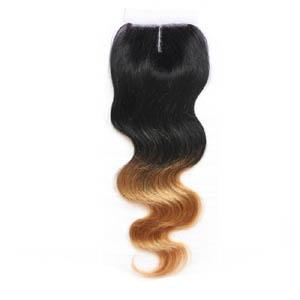 "10""-20"" Middle Part Ombre Brazilian Hair Body Wave Lace Closure(4""*4"") #1BT#27"