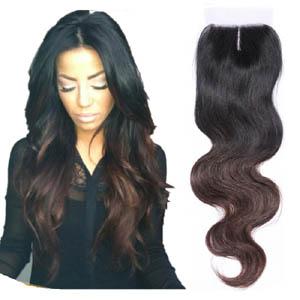 "10""-20"" Middle Part Ombre Brazilian Hair Body Wave Lace Closure(4""*4"") #1BT#4"