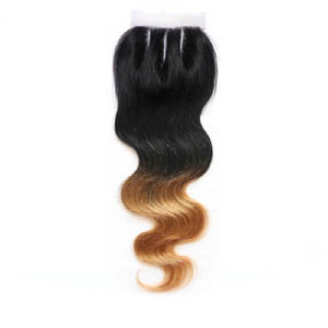 "10""-20"" Three Part Ombre Brazilian Hair Body Wave Lace Closure(4""*4"") #1BT#27"