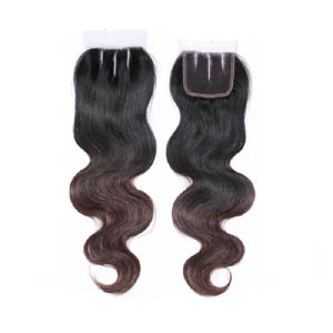 "10""-20"" Three Part Ombre Brazilian Hair Body Wave Lace Closure(4""*4"") #1BT#4"