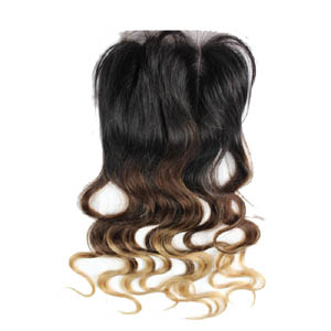"10""-20"" Three Part Ombre Brazilian Hair Body Wave Lace Closure(4""*4"") #1BT#4T#27"