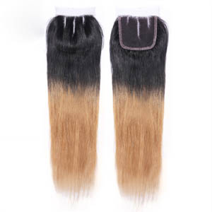 "10""-20"" Three Part Ombre Brazilian Hair Straight Lace Closure(4""*4"") #1BT#27"