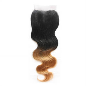 "10""-20"" Two Tone Ombre Brazilian Hair Body Wave Lace Closure(4""*4"") Free Style #1BT#27"