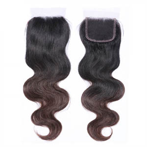 "10""-20"" Two Tone Ombre Brazilian Hair Body Wave Lace Closure(4""*4"") Free Style #1BT#4"