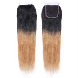"10""-20"" Two Tone Ombre Brazilian Hair Straight Lace Closure(4""*4"") Free Style #1BT#27"