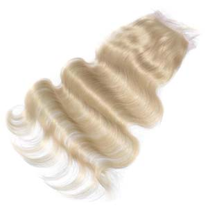 "10""-20"" Virgin Brazilian Hair Body Wave Top Lace Closure(4""*4"") Free Style #60 White Blonde"