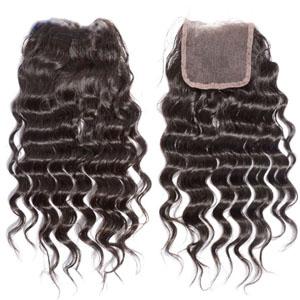 "10""-20"" Virgin Brazilian Hair Deep Wave Top Lace Closure(4""*4"") Free Style #2 Dark Brown"